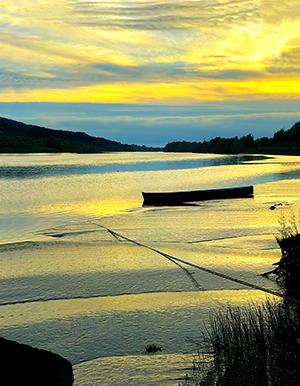 Yellow Sunset with boat, River Suir